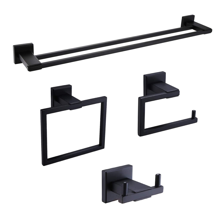 Iriber Bathroom Hardware Matte Black Double Bath Towel Bar Rack Accessory Set,Stainless Steel Towel Holder,Toilet Paper Holder,Robe Hook Wall Mounted,4-Piece