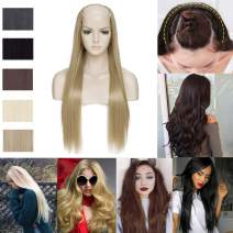 U-shape Half Hair Wig Long Japanese Synthetic Clip in Hairpiece U Part Wig for Women One Piece with 7 Clips Straight Hair Extensions Ash Blonde