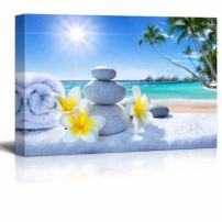 """wall26 - Canvas Prints Wall Art - Zen Stones with Fresh Flowers Overlooking The Tropical Ocean - 12"""" x 18"""""""