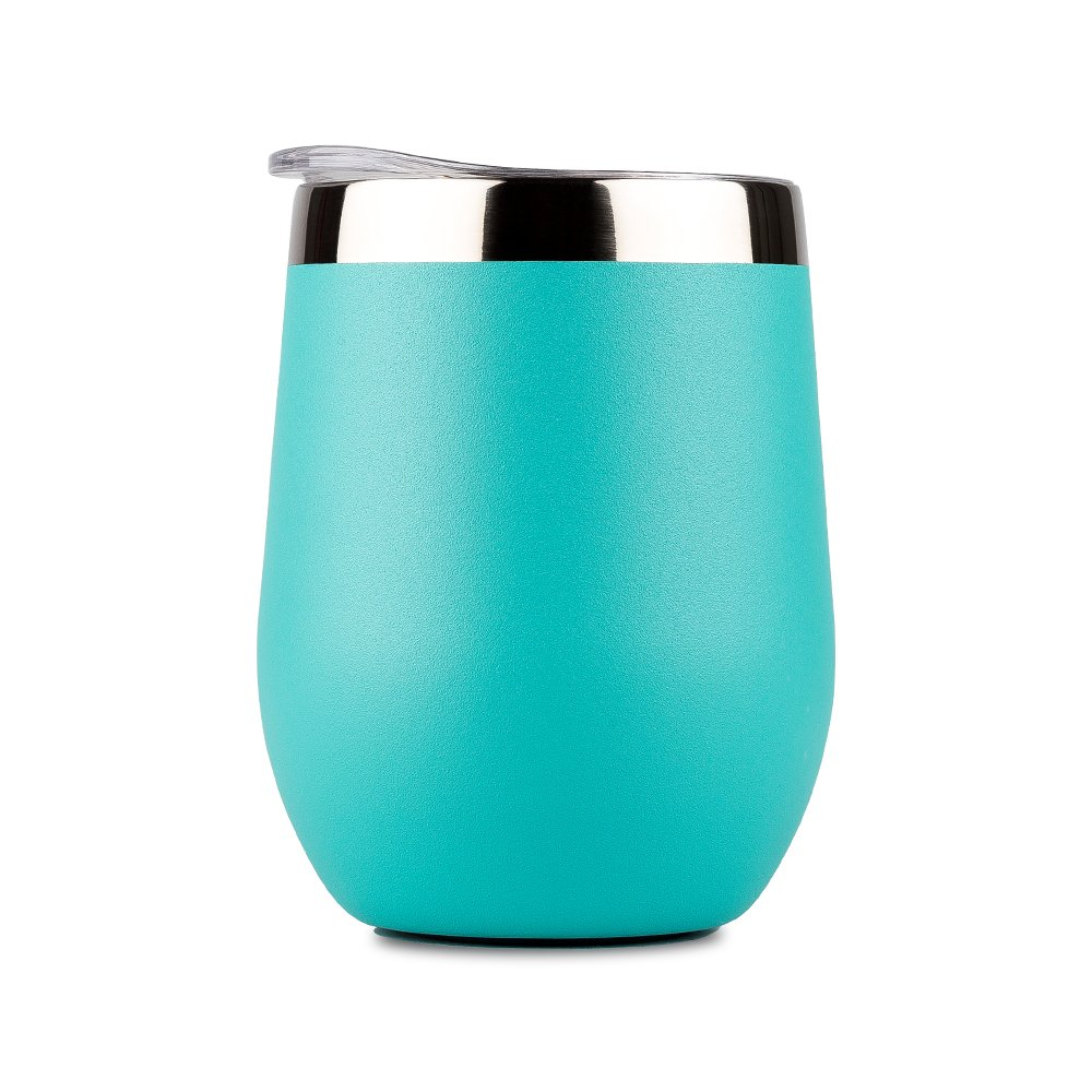 DOKIO 12 oz Cyan Wine Sippy Cup For Adults Insulated Wine Glasses Tumbler Stemless Stainless Steel Double Wall Vacuum Insulated Wine Mug With Lid Hot Drink Coffee Champagne Cocktail Mug Outdoors