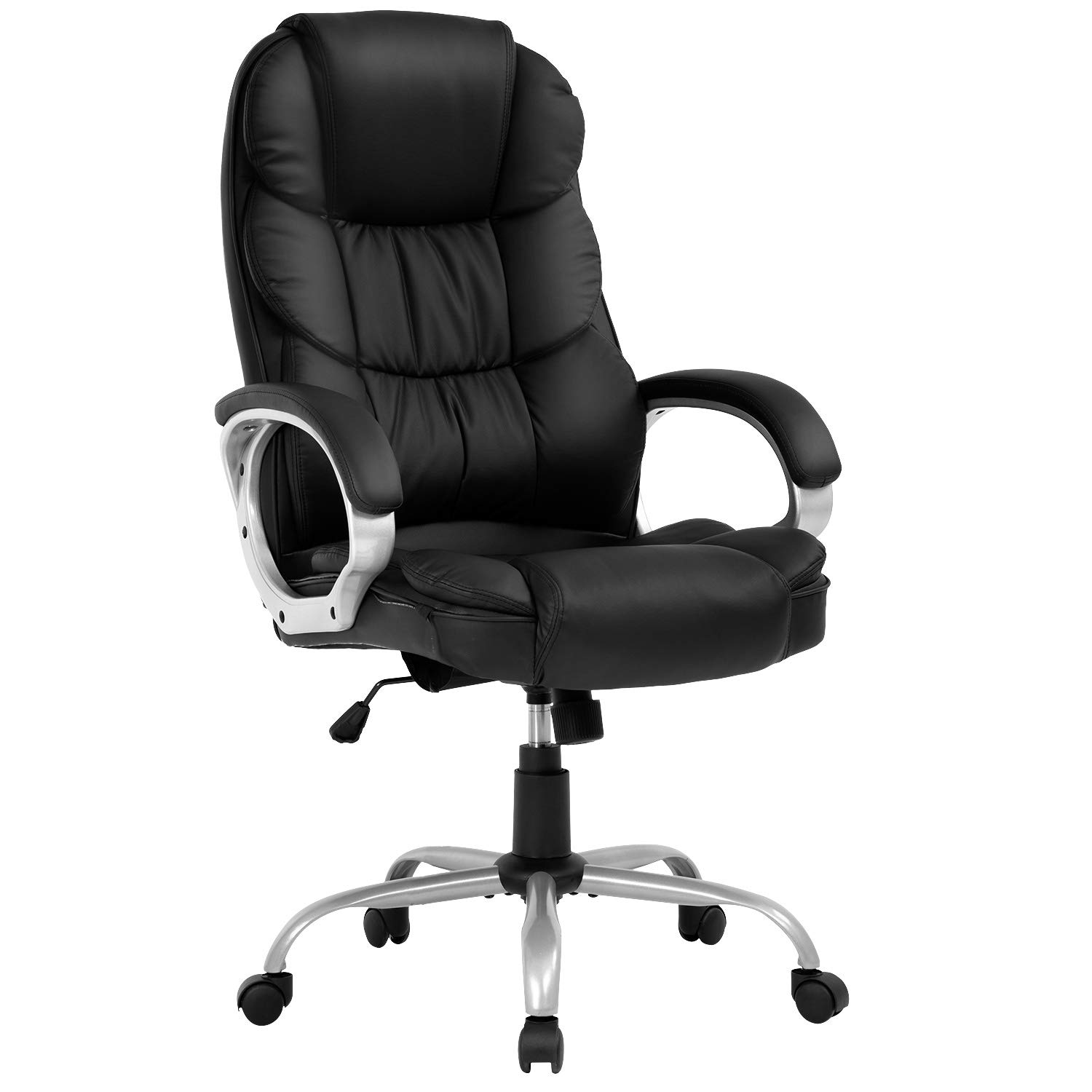 Ergonomic Office Chair,Computer Desk Chair High Back PU Leather Executive Rolling Task Adjustable Chair with Lumbar Support Headrest Armrest Swivel Chair, Black