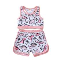 2PCS Toddler Baby Girls Swimsuit Sleeveless Vest Tops +Short Pants Bathing Suit Set