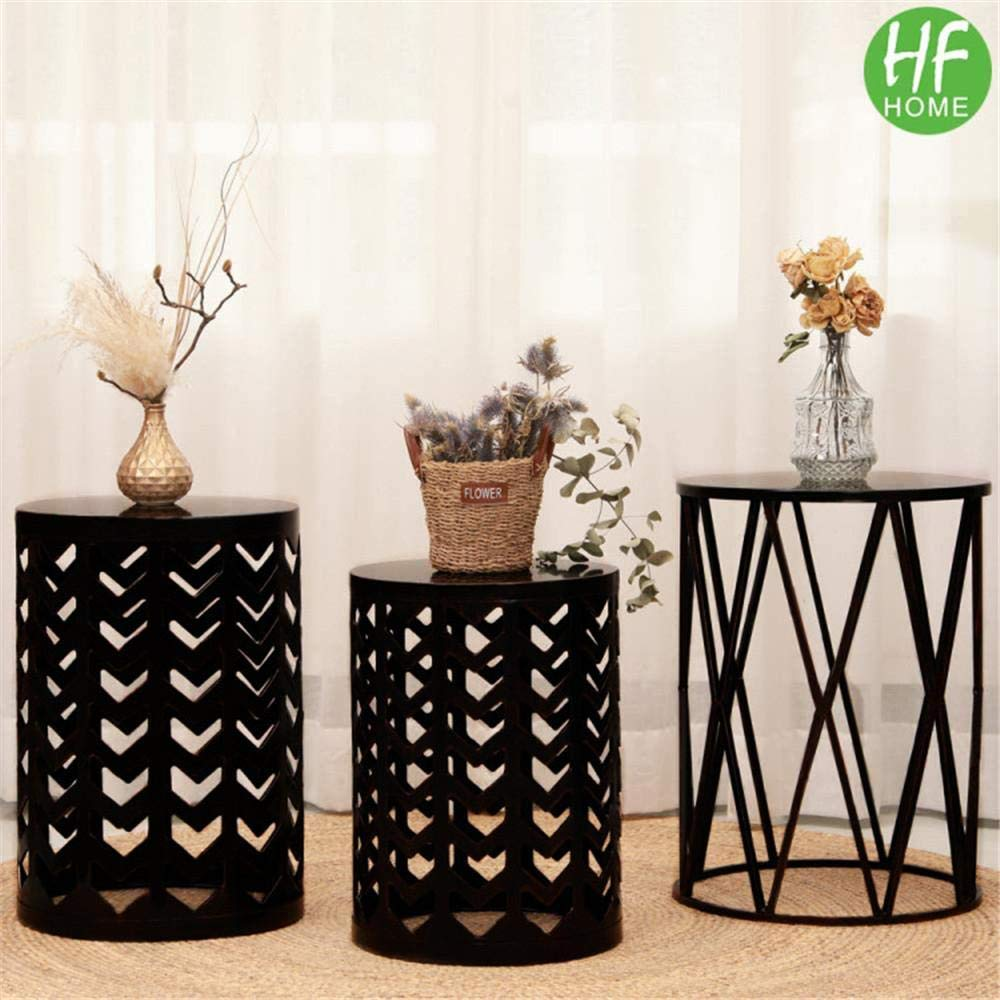 Multifunctional Nesting Round Metal Coffee End Tables, Set of 3 Modern Furniture Nightstands Decor Side Tables Plant Stand for Home Office Indoor Garden Outdoor- Pure Black (Ship from US)