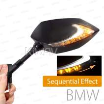 KiWAV Lucifer Black Motorcycle Mirrors Dual LED Waterproof Sequential Effect Version 10mm 1.5 Pitch Compatible with BMW