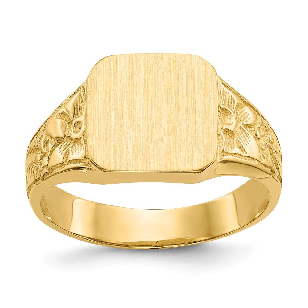 14k Yellow Gold Square Satin Top Baby Signet Band Ring Size 3.50 Fine Jewelry For Women Gifts For Her