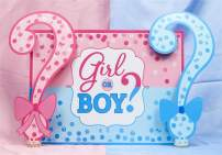 AOFOTO 10x7ft Girl or Boy Gender Reveal Backdrop Baby Shower Party Decoration Photography Background Boy or Girl Banner Pregnancy Announcement Photo Studio Props Booth Pink Blue Tones Vinyl Wallpaper