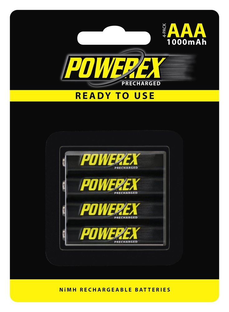 Powerex Precharged Rechargeable AAA NiMH Batteries (1.2V, 1000mAh, Low Self-Discharge) - 4-Pack