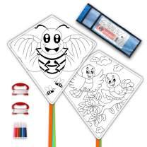 DIY Kites for Kids Kite Making Kit Bulk, Decorating Coloring Kite Party Pack,White Diamond Kite Kits (2 Pack Ready to Color-Bird Bee)