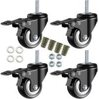 """DICASAL 2"""" Stem Casters, Heavy Duty Swivel Stem Casters PU Foam Quite Mute No Noise Castors Markless Wheels Double Bearings and Locks Loading 300 Lbs Pack of 4 with Brake Black"""