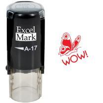 Round Teacher Stamp - Wow! - RED Ink