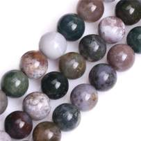 """GEM-Inside Natural 14mm Indian Agate Gemstone Loose Beads Round Crystal Energy Stone Power for Jewelry Making 15"""""""