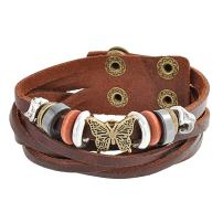 Bling Jewelry Butterfly Charm Brown Leather Multi Strand Wrap Cuff Bracelet for Women for Teen Oxidized Gold Plated Stainless Steel