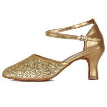 HROYL Women Latin Ballroom Dance Shoes Sequins Model MF18025