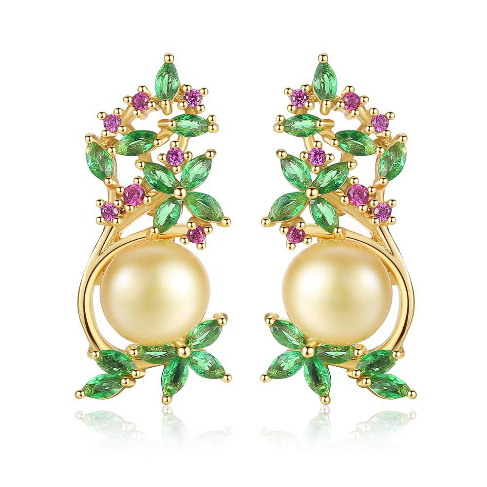 SAVIAURA AAA+ Cubic Zirconia Natural Pearl Stud Earrings, Perfect Gift for Her, Nilckle and Lead Free Champagne Color, Pendientes de perlas
