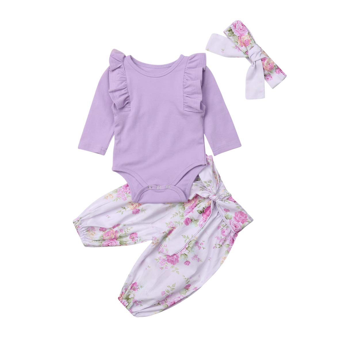 3PCS Baby Girl Clothes Ruffle Long Sleeve Romper Bodysuit Tops Floral Pants Headband Outfits