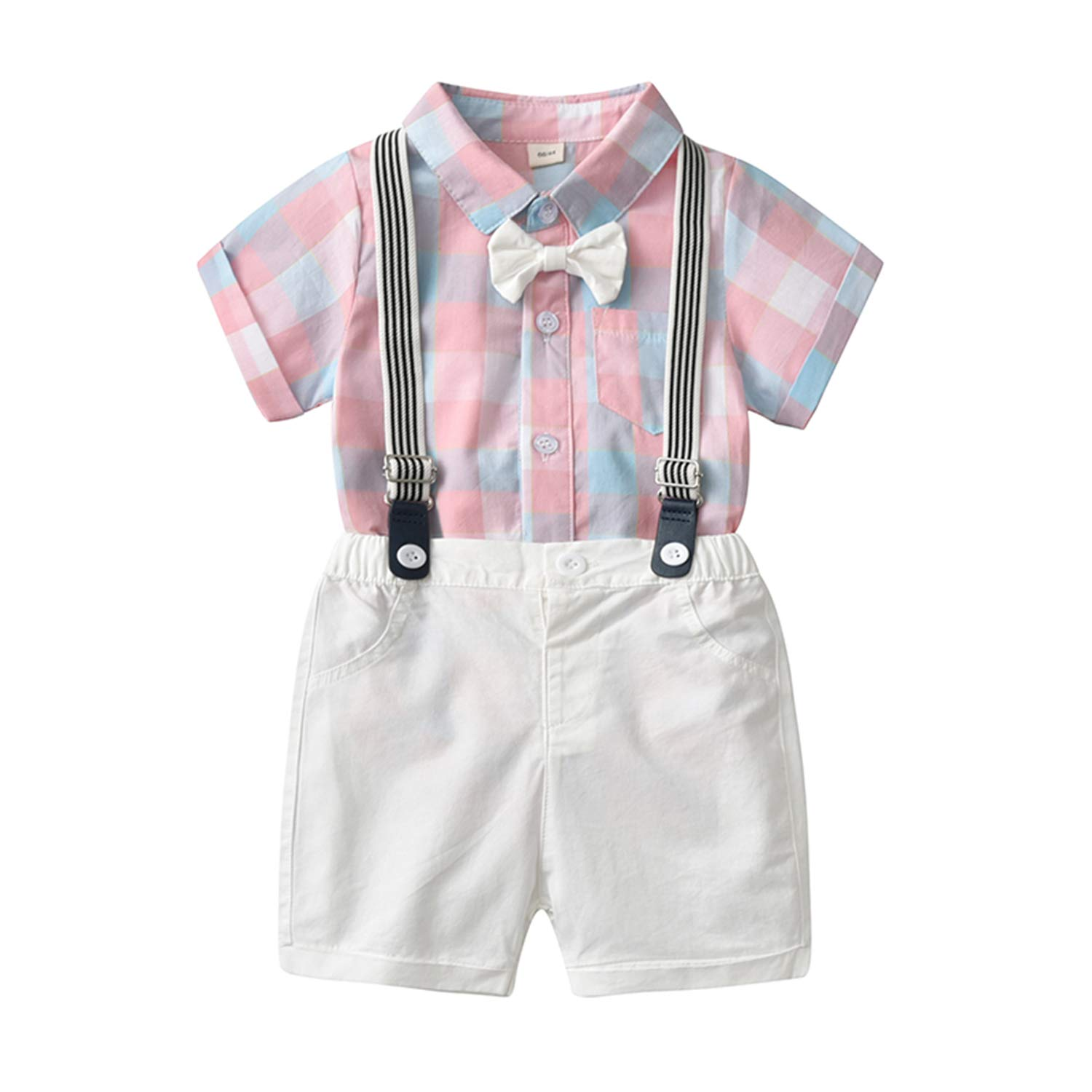 Baby Boys Gentleman Outfits Suits, Infant Short Sleeves Shirt+Bib Pants+Bow Tie Overalls Clothes Set