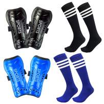 Mypre Youth Soccer Shin Guards for Kids with Knee High Socks Football Guards Protector Protective Gear Pad Sleeve Equipment Fit 5-12 Years Old Boys Girls Teenager Child Sports Blue Black (Pack of 4)