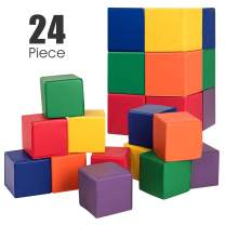 Costzon Soft Blocks, Toddler Foam Block Playset for Safe Active Play and Building, Indoor Climbers Stacking Play Set Learning Toys for Toddlers, Baby, Kids and Preschooler (8-Inch, 24-Piece)