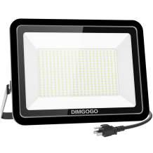 DIMGOGO 400W LED Flood Light, 40000lm Super Bright Work Light with Plug, 5000K Daylight White Lights, IP66 Waterproof Outdoor Floodlight for Garage, Garden, Lawn, Basketball Court, Playground