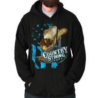 Brisco Brands Country Strong Hat Flag Patriotic Western Hoodie