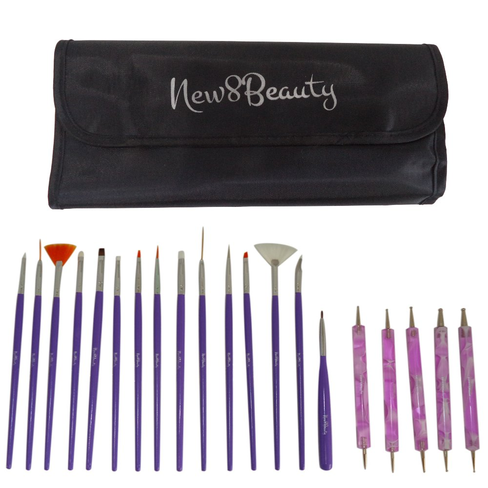 Nail Art Brushes, Dotting Pens Marbling Detailing Painting Striping Tools 20pc Kit Set with Roll-Up Pouch - Best for nail art and facial detailed painting - FREE eBook with Design Idea
