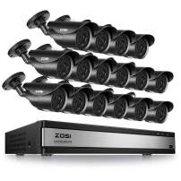 ZOSI 16CH 1080P DVR Security System & 16pcs Bullet 2MP Cameras with IP67 Waterproof 120ft Night Vision for Outdoor Indoor Security (not Include Hard Drive)
