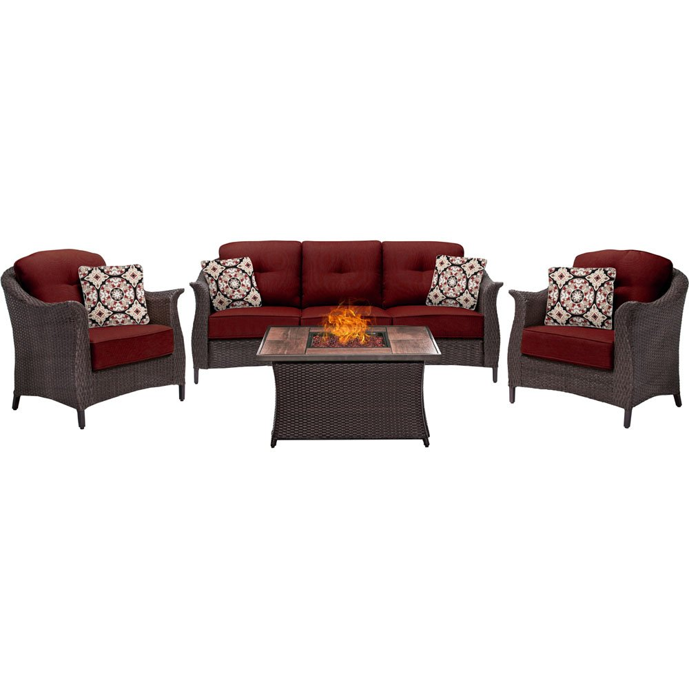 Hanover GRAM4PCFP-RED-WG Gramercy 4-Piece Woven Set, Crimson Red with Wood Grain Top Fire Pit