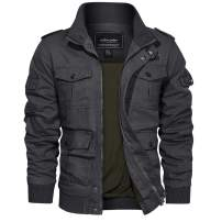 TACVASEN Men's Cotton Jackets Military Cargo Bomber Working Jackets with Multi Pockets Warm Coats