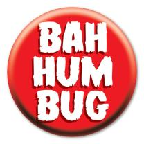 """2.25"""" Bah Humbug Button with Magnetic Back"""