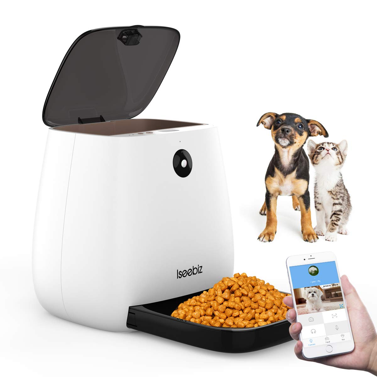 Iseebiz Smart Pet Feeder with 1080P Camera, 3.3L Automatic Cat Dog Feeder, App Control, Food Weighing, Auto Video Record, 2-Way Audio, 12 Meals a Day for Medium Small Cats Dogs, Compatible with Alexa