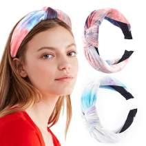 Campsis Boho Kont Headband Velvet Hair Hoop Tie Dye Print Pattern Hairband Criss Cross Hair Ties Yoga Sport Twisted Headwear Hair Accessories for Women and Girls (Pack of 2)