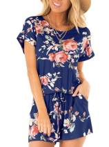 REORIA Womens Loose O Neck Short Sleeve Floral Printed Short Jumpsuit Rompers