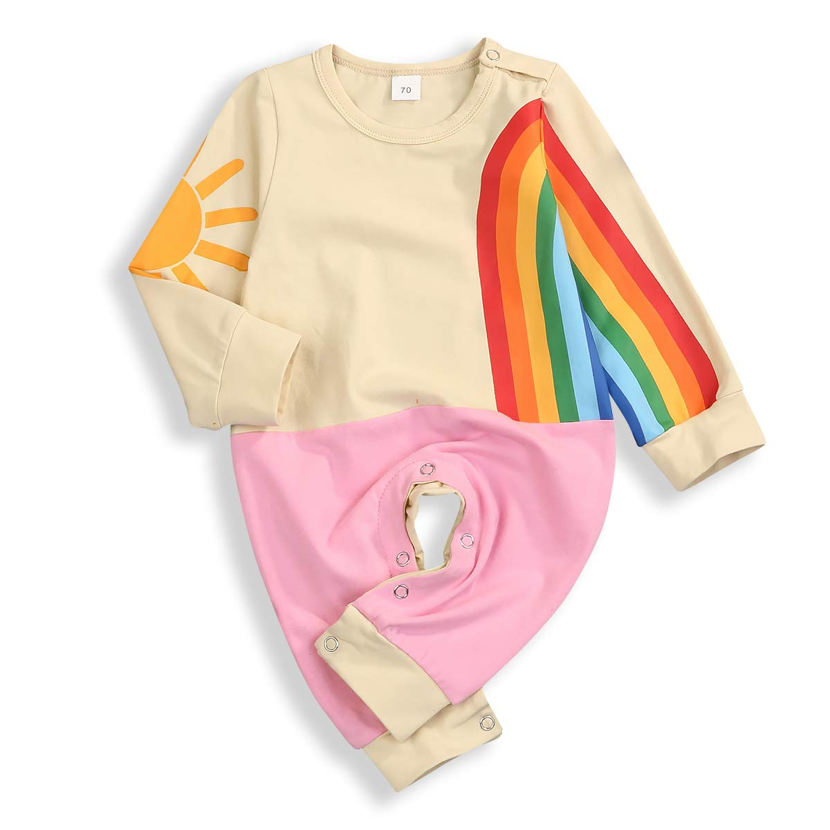 Toddler Baby Kids Boys Girls Clothes Sun and Rainbow Print Long Sleeve T-Shirt Tops+ Pants 2pc Outfits Set