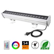 ATCD 54W LED Wall Washer Light, RGBW Color Changing LED Light Bar 120V, RF Remote Controller 1.64ft/20 Outdoor RGB LED Light Bar for Advertisement Lighting, Hotels, Resorts, Casinos-5 Yrs Warranty