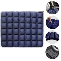 """Haerniubi Seat Cushion Air/Water Inflatable Chair Pad for Wheelchair, Office Chair, Cars, Home Living, Pressure Relief Pillow, Adjustable Volume & Softness Non-Slip Hip Protector 18"""" x 16"""" Blue"""
