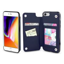 Gear Beast Lychee PU Leather Protective Top View Slim Wallet Case Fits iPhone 8/7 Includes Flip Folio Cover, with Five Card Slots Including Transparent ID Holder