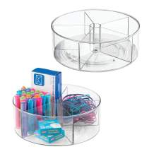 mDesign Deep Plastic Lazy Susan Turntable Storage Container - Divided Spinning Organizer for Home Office Supplies, Pens, Erasers, Tape, Colored Pencils - 2 Pack - Clear