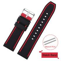 COHOLL Silicone Watch Bands - Quick Release Straps - Choose Color & Width - 20mm, 22mm, 24mm, or 26mm - Soft Silicone Rubber Replacement Watch Band (red with Black, 24mm)