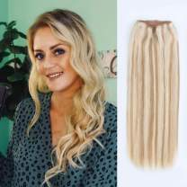 ABH AMAZINGBEAUTY HAIR Invisible Halo Extensions, Remy Human Hair, Dark Dirty Blonde with Platinum Blonde Highlights P12-60, 120 Gram 20 Inch