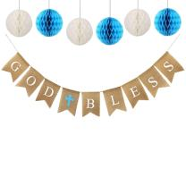 God Bless Banner Burlap with 6pcs Paper Honeycomb, Baptism Banner, Communion Party Banner Baptism Decorations for Wedding, Baby Shower, First Communion