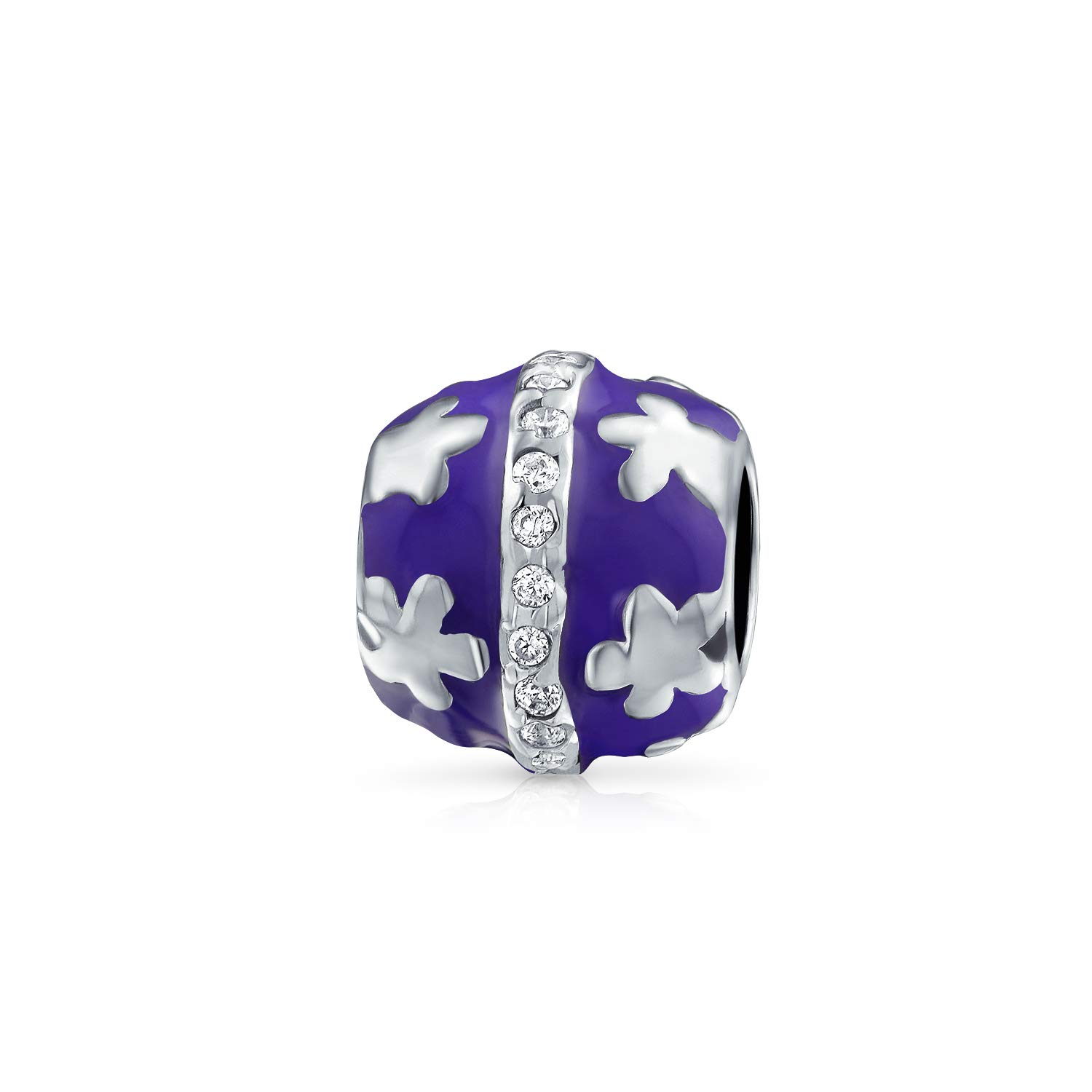 Purple Enamel Floral Barrel Bead 925 Sterling Silver Fits European Charm Bracelet For Women For Teen