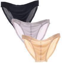 Sept.Filles Men's Low Rise Seamless Bikini Briefs Panties (US Size XL, Black+Boby Color+Purple)