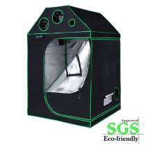 """Quictent 48""""x48""""x71"""" SGS Approved Eco-Friendly Reflective Mylar Hydroponic Roof Cube Grow Tent with Door Hook and Waterproof Floor Tray Indoor Plant Growing, 4 Nylon Belts Provided"""