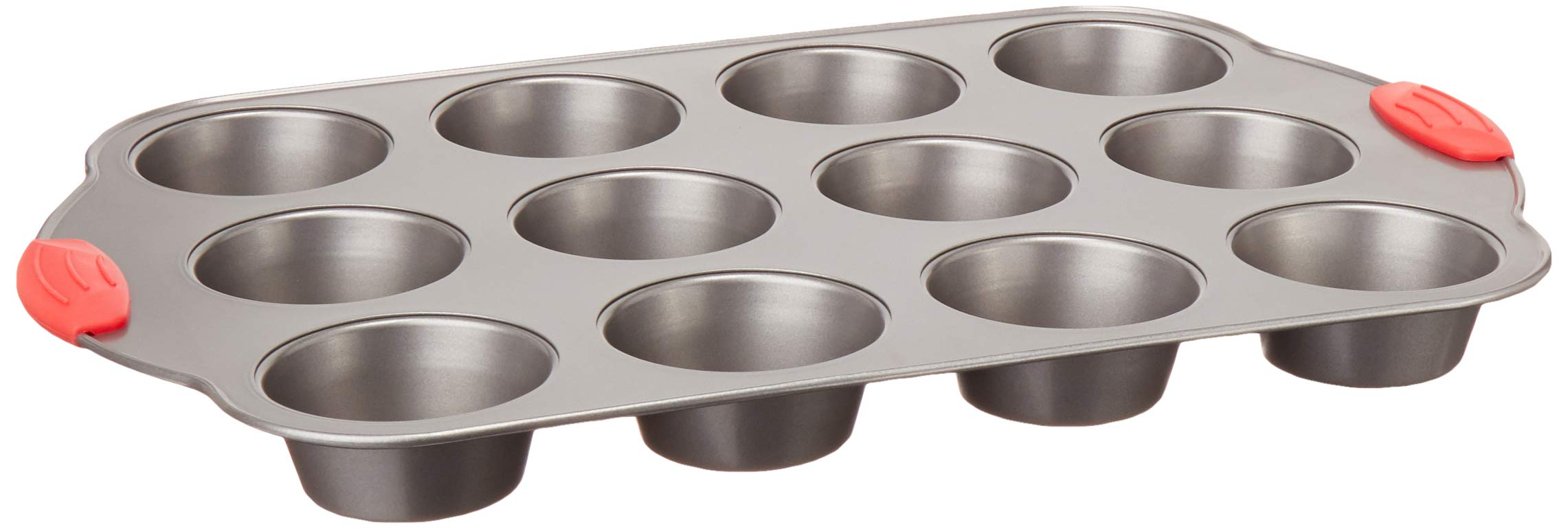 Amazon Basics Non-Stick 12-Cup Muffin Pan, Gray with Red Grips