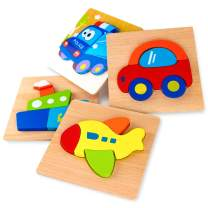 SKYFIELD Wooden Vehicle Jigsaw Puzzles for Toddlers 1 2 3 Years Old, Boys &Girls Educational Toys Gift with 4 Vehicle Patterns, Bright Vibrant Color Shapes (Vehicle)