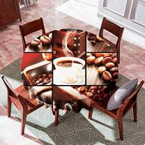 VVA Round Tablecloth -Collage with Coffee Cups, Sugar Cubes, Coffee Beans, Roaster and Grinder - Round Table Cover for Dining Rooms and Kitchens, Indoor and Outdoor Events - 50 Inch, Brown