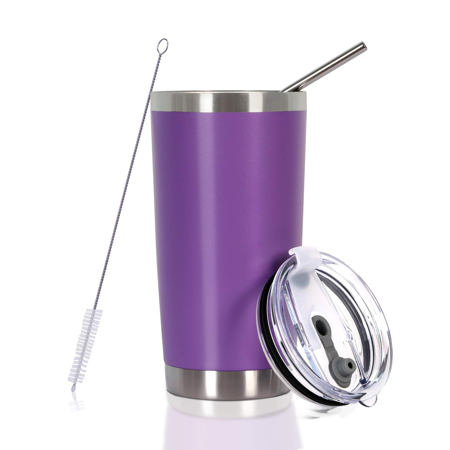 20 oz. Tumbler Double Wall Stainless Steel Vacuum Insulation Travel Mug with Crystal Clear Lid and Straw, Water Coffee Cup for Home,Office,School, Ice Drink, Hot Beverage,Purple