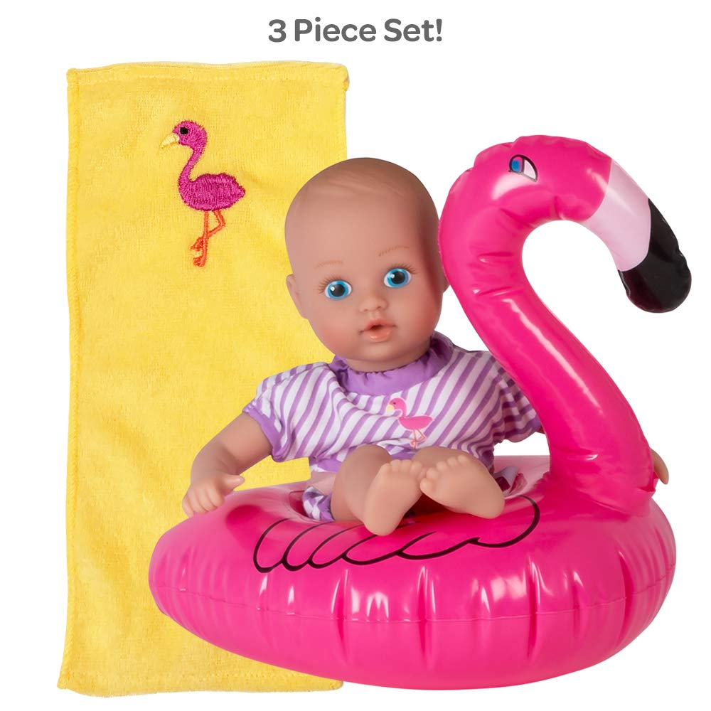 Adora Water Baby Doll, SplashTime Baby Tot Fun Flamingo 8.5 inch Doll for Bathtub/Shower/Swimming Pool Time Play, Pink