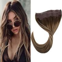 """LaaVoo 12 Inch Halo on 100% Real Remy Human Hair Extension with Fish Line Highlight Dark Brown Fading to Ash Blonde and Dark Brown Adjustable Micro Line Halo on Human Hair for Women 80g 11"""" Width"""