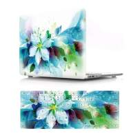"""HRH 2 in 1 Blue Watercolor Flowers Laptop Body Shell PC Protective Hard Case Cover and Matching Silicone Keyboard Cover for MacBook Air 11 inch 11.6""""(Models: A1370 and A1465)"""